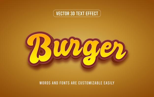 Estilo de efeito de texto editável burger 3d