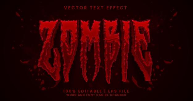 Estilo de efeito de texto editável de terror em texto zumbi