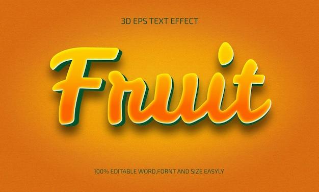 Estilo de efeito de texto editável fruit 3d