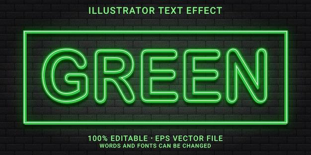 Estilo de efeito de texto editável verde