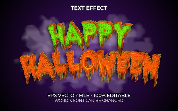 Estilo de efeito de texto feliz dia das bruxas efeito de texto editável