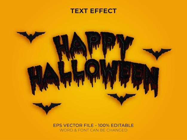 Estilo de efeito de texto feliz dia das bruxas vetor de efeito de texto editável