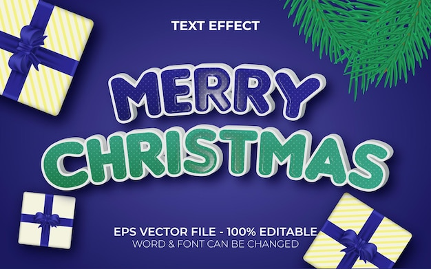 Estilo de efeito de texto feliz natal efeito de texto editável