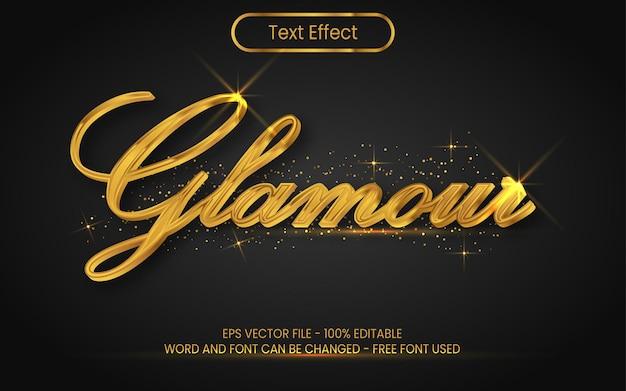 Estilo de efeito de texto glamour, tema dourado efeito de texto editável