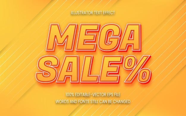 Estilo de efeito de texto mega sale com cor gradiente Vetor Premium