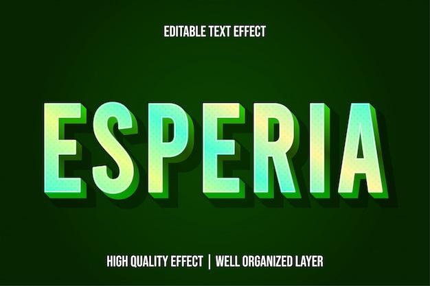 Estilo de efeito de texto moderno verde esperia