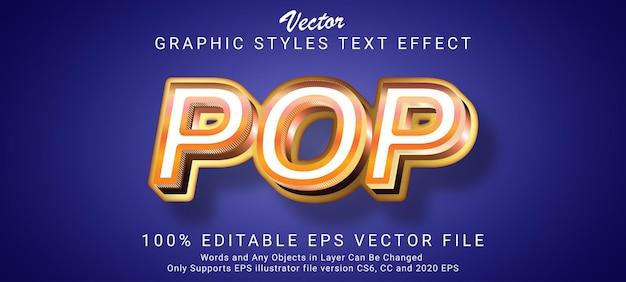 Estilo de efeito de texto pop dourado