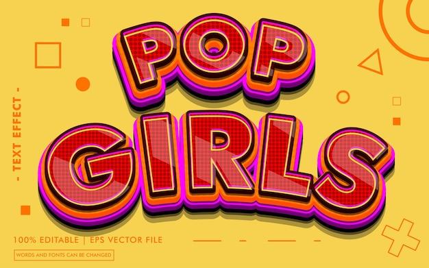 Estilo de efeito de texto pop girls