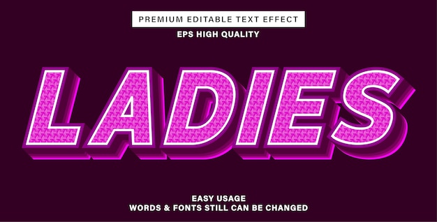 Estilo de efeito de texto rosa feminino