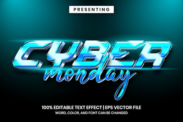 Estilo de efeito de texto techno futurista da cyber monday