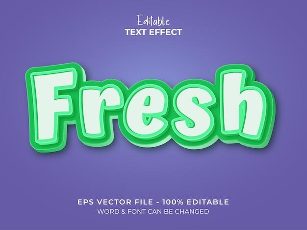 Estilo de efeito de texto verde fresco efeito de texto de fonte editável