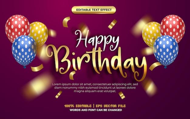 Estilo de efeito editável de papel de origami manuscrito de ouro branco feliz aniversário. fundo roxo com balão colorido