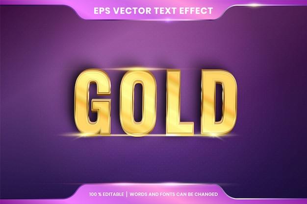 Estilo de efeito texto editável dourado