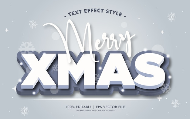 Estilo de efeitos de texto 3d merry xmas white 3d