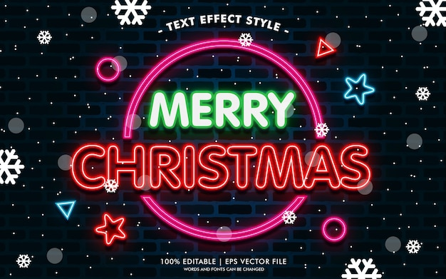 Estilo de efeitos de texto de feliz natal círculo neon