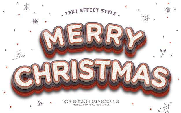 Estilo de efeitos de texto de feliz natal vermelho branco