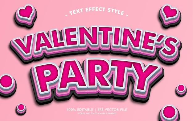 Estilo de efeitos de texto de festa do valentim
