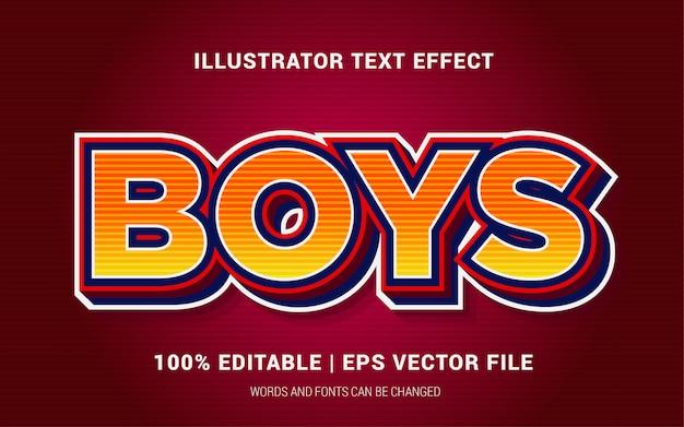 Estilo de efeitos de texto de meninos