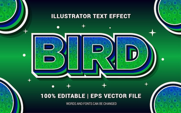 Estilo de efeitos de texto de pássaro