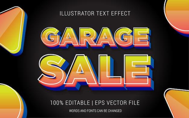 Estilo de efeitos de texto de venda de garagem