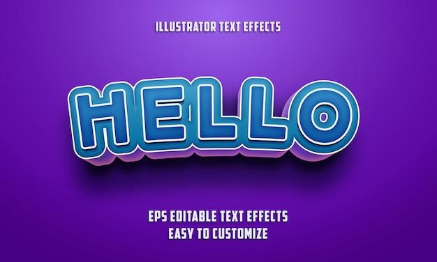Estilo de efeitos de texto editáveis de cor azul e roxo