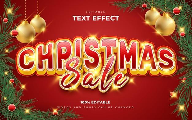 Estilo de efeitos de texto editáveis em 3d de venda de feliz natal