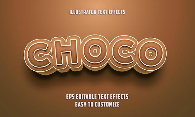 Estilo de efeitos de texto editáveis em cor castanha choco