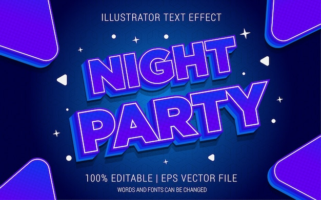 Estilo de efeitos do texto no partido da noite