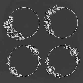 Estilo de esboço de círculo floral no fundo do quadro