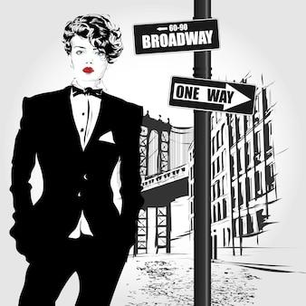 Estilo de esboço de mulher moda ilustração de moda de nova york