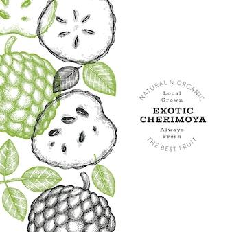 Estilo de esboço desenhado à mão cherimoya