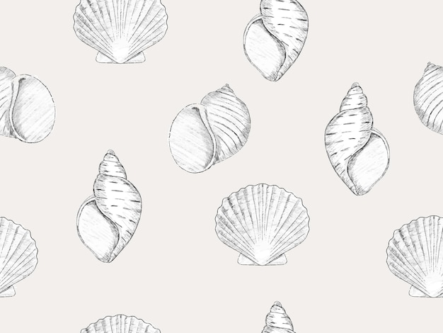 Estilo de esboço desenhado à mão padrão sem emenda salino papel de parede da moda com molusco de vieira