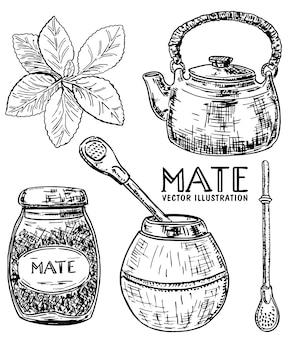 Estilo de esboço desenhado à mão tinta erva mate conjunto de chá