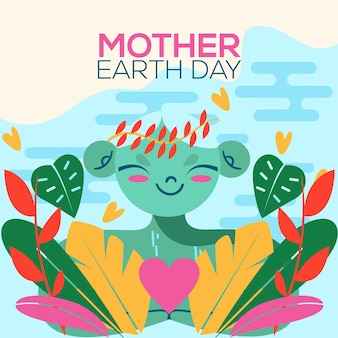 Estilo de evento de dia internacional da mãe terra design plano