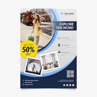Estilo de folheto de venda de viagens com foto