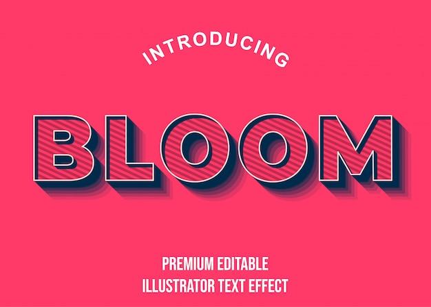 Estilo de fonte bloom - efeito de texto azul rosa 3d