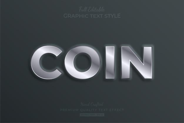Estilo de fonte com efeito de texto editável em relevo moeda prata