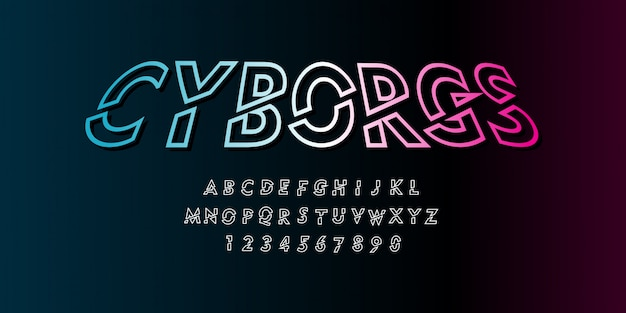 Estilo de fonte cyborg futurista cyberpunk no pacote