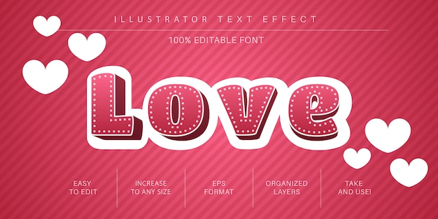 Estilo de fonte de efeito de texto de amor 3d