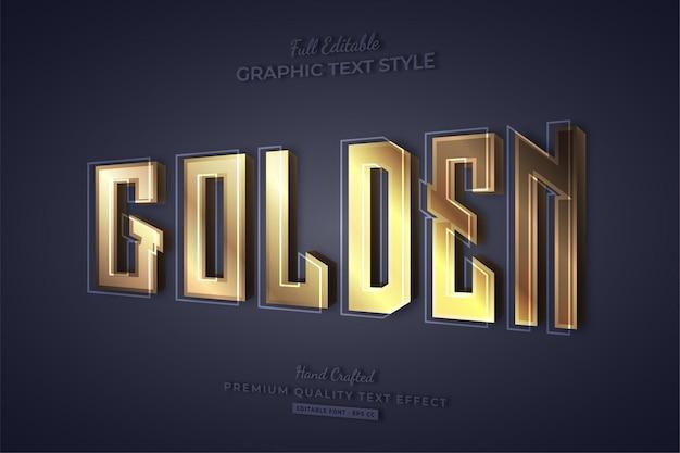 Estilo de fonte de efeito de texto editável 3d dourado