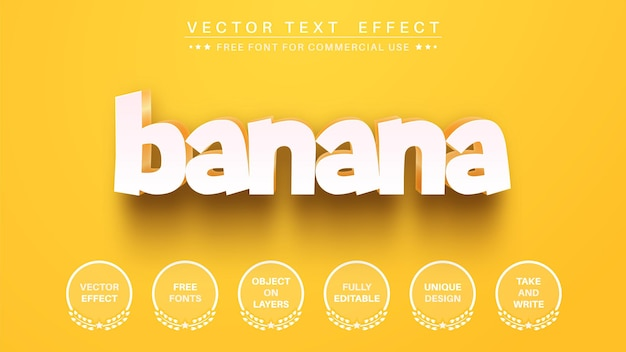 Estilo de fonte de efeito de texto editável de banana amarela