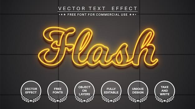 Estilo de fonte de efeito de texto editável de brilho do flash