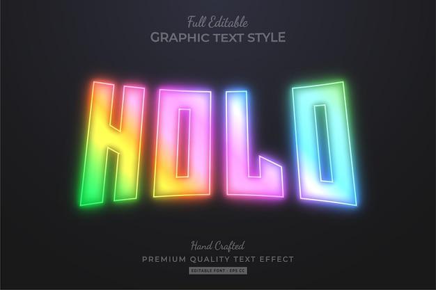 Estilo de fonte de efeito de texto editável de gradiente de brilho holográfico
