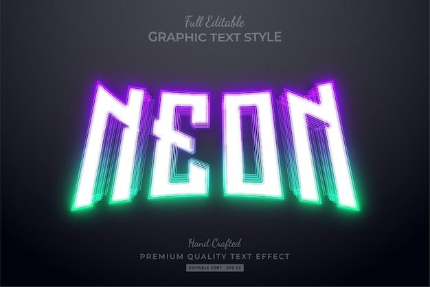 Estilo de fonte de efeito de texto editável de gradiente neon roxo verde