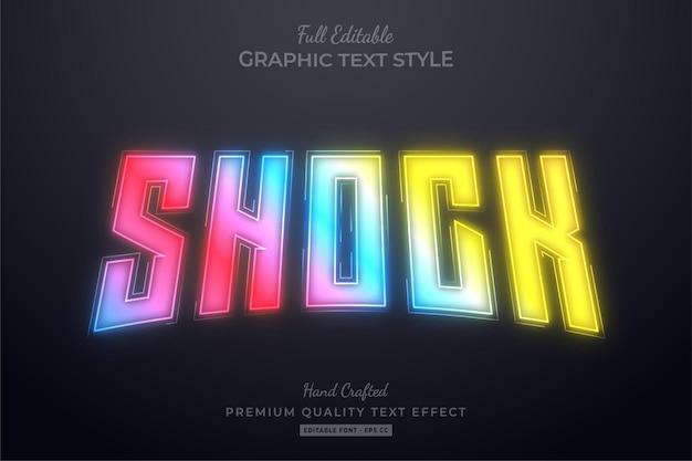 Estilo de fonte de efeito de texto editável de holograma de néon de gradiente de choque