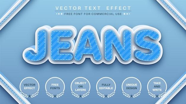 Estilo de fonte de efeito de texto editável de jeans