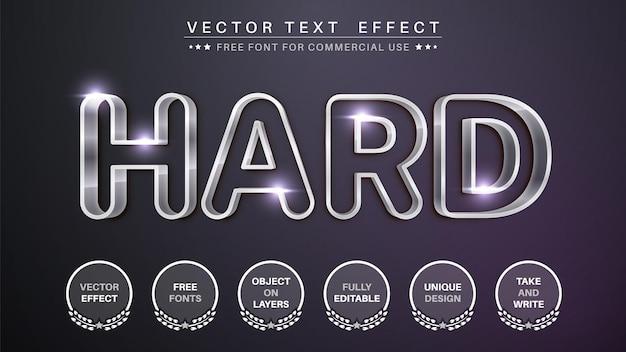 Estilo de fonte de efeito de texto editável de metal de aço