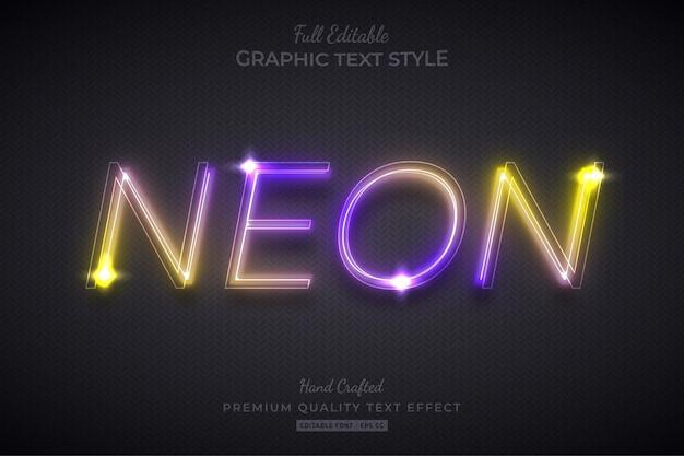 Estilo de fonte de efeito de texto editável de néon gradiente