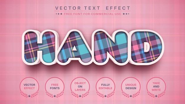 Estilo de fonte de efeito de texto editável de padrão têxtil