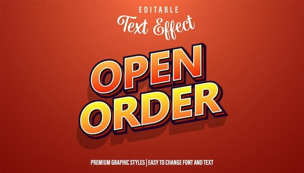Estilo de fonte de efeito de texto editável de sinal de ordem aberta